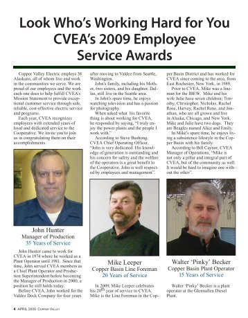 CVEA Employee Service Awards - Copper Valley Electric Association