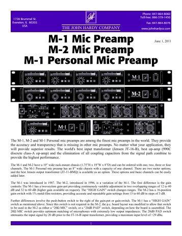 M-1 Mic Preamp M-2 Mic Preamp M-1 Personal Mic ... - John Hardy