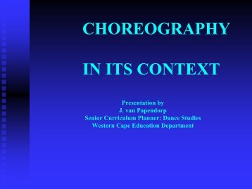 CHOREOGRAPHY IN ITS CONTEXT - Curriculum Development