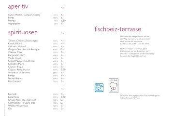 aperitiv spirituosen fischbeiz-terrasse - in der Fischbeiz