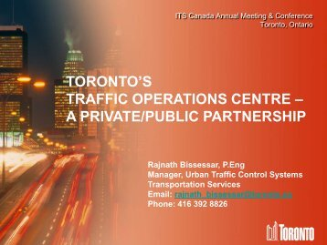Toronto's Traffic Operations Centre - (ITS) Canada