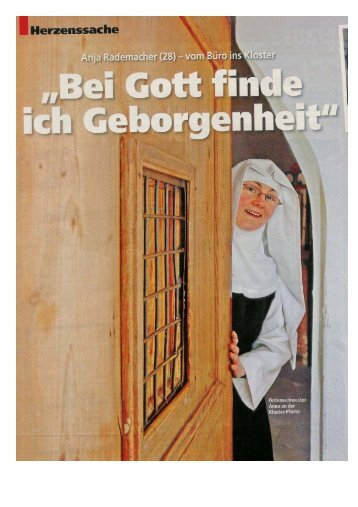 Drclensschwester Anna an der Kloster-Pforte - creativekey.de