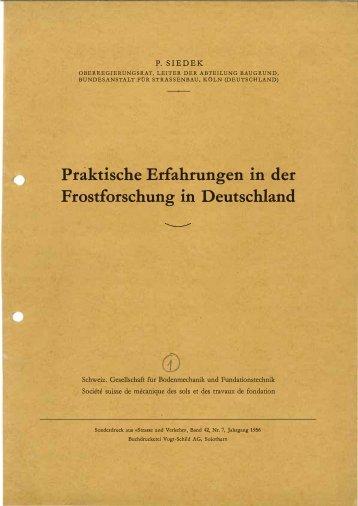 Práktische Erfahrungen in der Frostforschung in Deutschland - SGBF