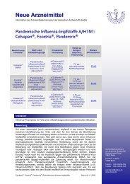 Pandemische Influenza-Impfstoffe A/H1N1: Celvapan®, Focetria ...