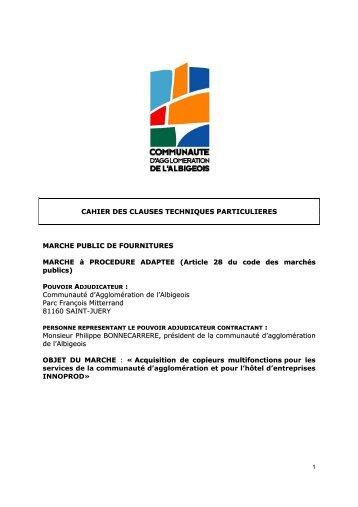 CCTP copieurs INNOPROD et AGGLO 2012 - Communauté d ...