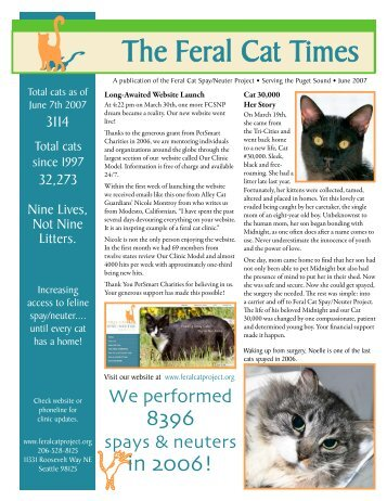 feral cat project The cat's meow snap is part of the almost home coalition, along with the almost home project (formerly friends of lewis county animal shelter), working together to expand and strengthen the support and services we can offer the residents of lewis county and southwest washington.