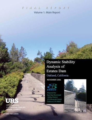 Dynamic Stability Analysis of Estates Dam Volume 1 - East Bay ...