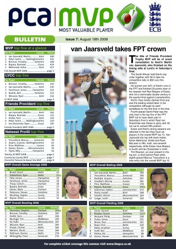 issue 7 - August 19 - The Professional Cricketers' Association