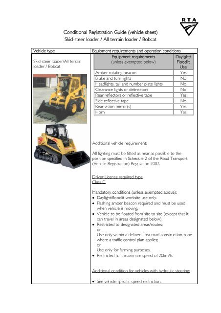 Conditional Registration Guide (vehicle sheet) Skid-steer