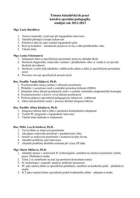 Témata bakalářských prací na akademický rok 2012/13 ke stažení