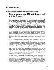 Schulterschluss von MS Mail Service AG und rbc Gruppe