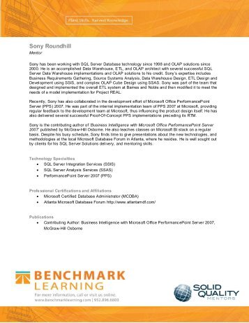 Sony Roundhill - Benchmark Learning