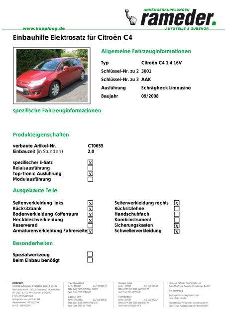 Einbauhilfe Elektrosatz für Citroën C4
