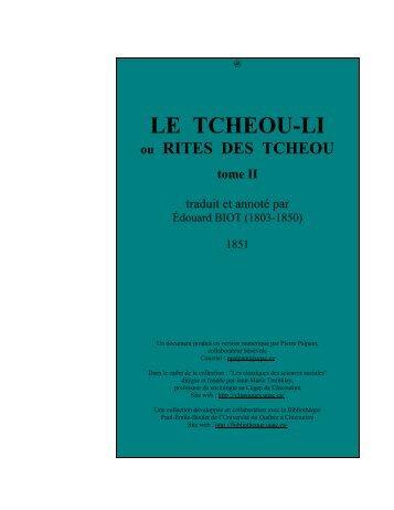 Tcheou-li, ou Rites des Tcheou, tome II