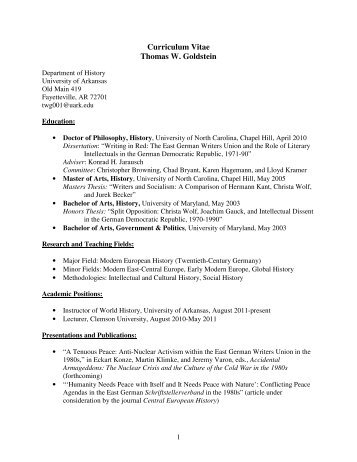 Curriculum Vitae Thomas W. Goldstein - Department of History