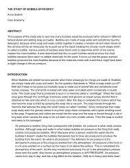 THE STUDY OF BUBBLE EFFICIENCY Anna Ibrahim Cary Academy ...