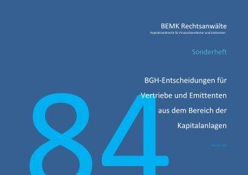 BEMK 84 BGH-Entscheidungen 22112013 - BEMK Rechtsanwälte