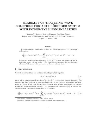 Stability of traveling-wave solutions for a Schrodinger system with ...