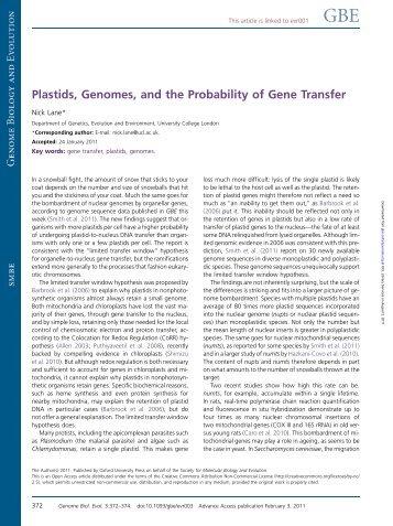 Plastids, Genomes, and the Probability of Gene Transfer - Nick Lane