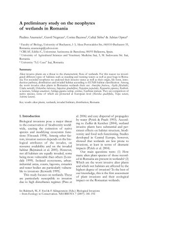 A preliminary study on the neophytes of wetlands in ... - Specii Invazive