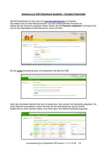 Anleitung zur KAT-Datenbank Qualitrail – Eingabe Futtermittel