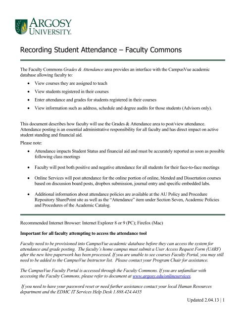 Recording Student Attendance – Faculty Commons - Argosy University