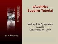eAuditNet Supplier Tutorial