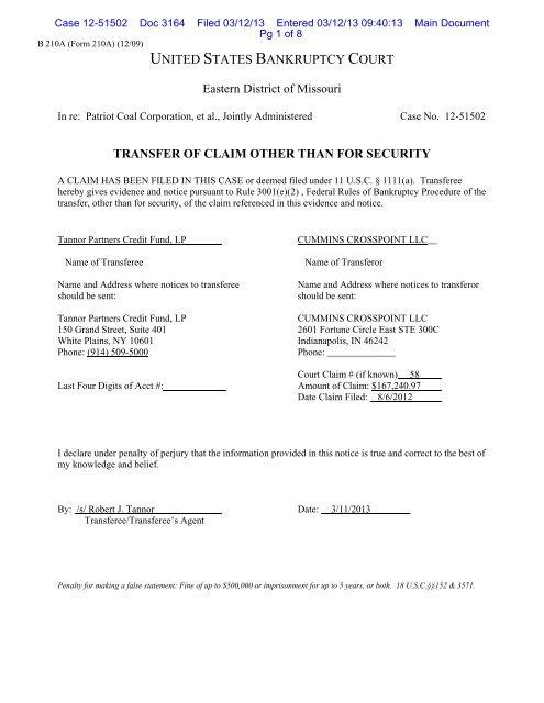 Transfer Agreement 3001e2 Transferor Patriot Coal Case