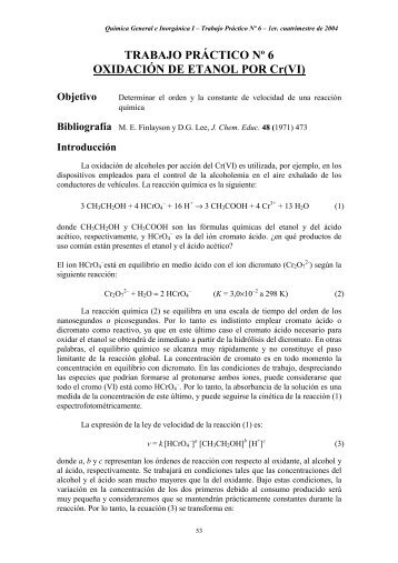 TRABAJO PRÁCTICO Nº 6 OXIDACIÓN DE ETANOL POR Cr(VI)