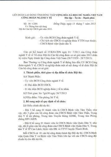 Số: 50 / CĐN Đồng Tháp, ngày 15 tháng 7 năm 2013