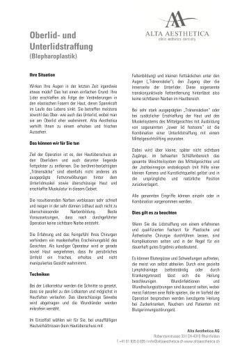 Oberlid- und Unterlidstraffung - Alta Aesthetica