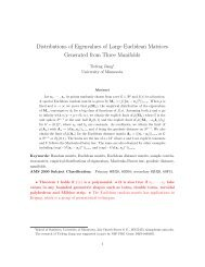 Distributions of Eigenvalues of Large Euclidean Matrices Generated ...