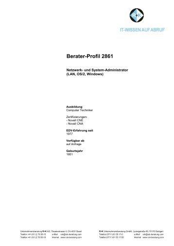 Berater-Profil 2861 - R+K Unternehmensberatung GmbH