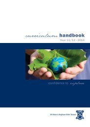 Handbook - Year 11 and 12 2014 - St Aidan's Anglican Girls' School