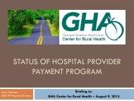 Status of Hospital Provider Payment Program - GHA