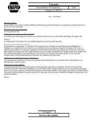 Garantie Service des achats - NAPA - Pièces d'auto Rimouski