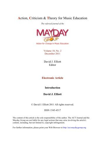 David J Elliott, editor - ACT Journal - MayDay Group