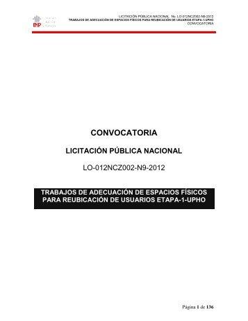 convocatoria licitación pública nacional - Instituto Nacional de ...