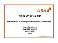 The Journey So Far - UBA Plc