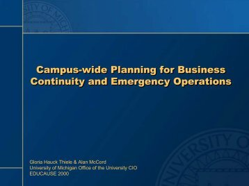 Campus-wide Planning for Business Continuity and Emergency ...
