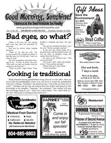 Bad eyes, so what? - Good Morning Sunshine.ca