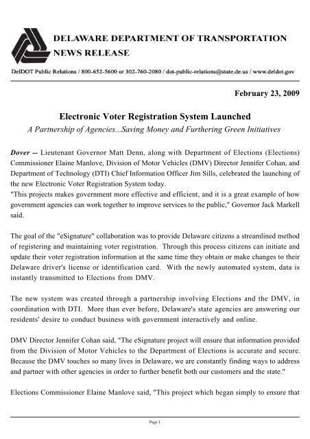 Electronic Voter Registration System Launched - Delaware's ...