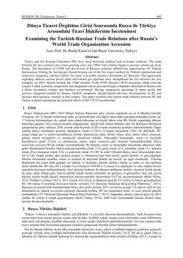 Dünya Ticaret Örgütüne Girişi Sonrasında Rusya ile Türkiye ...