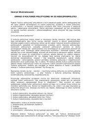 Uwagi o kulturze politycznej w III Rzeczpospolitej - Fundacja Kultury ...