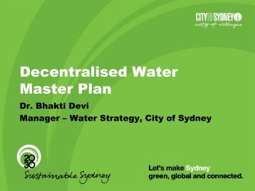 Presentation on Draft Decentralised Water Master Plan - WSUD