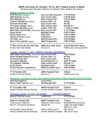 MNHS Activities for October 10-16, 2011 (Home Events in Bold)