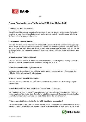 Fragen / Antworten zum Tarifangebot VBB-Abo 65plus (FAQ)
