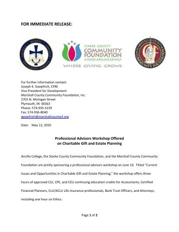 FOR IMMEDIATE RELEASE: - Marshall County Community ...