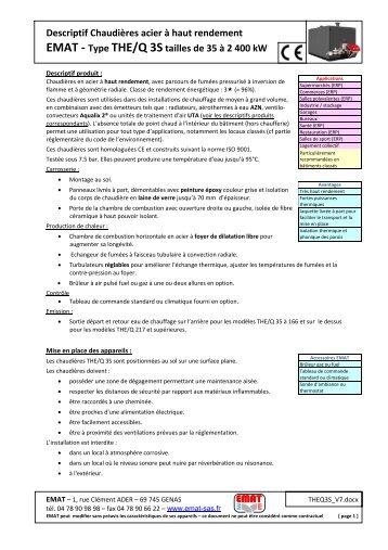 Descriptif Chaudières acier à haut rendement EMAT - Type THE/Q ...