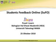 Students Feedback Online (SuFO) - i-Learn Portal – UiTM e ...